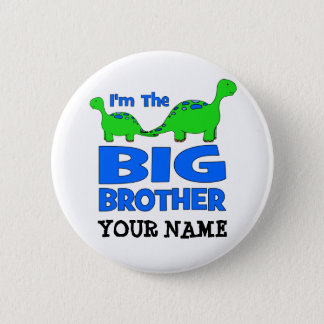 I'm the BIG Brother! Custom Dinosaur Design 6 Cm Round Badge