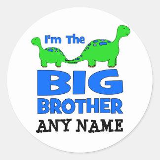 I'm the BIG Brother! Custom Dinosaur Design Round Stickers