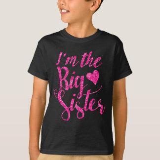 I'm the Big Sister|Hot Pink Glitter-Print T-Shirt