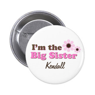 I'm The Big Sister Mod Flowers Personalised 6 Cm Round Badge