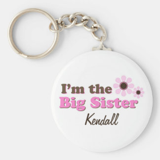 I'm The Big Sister Mod Flowers Personalized Basic Round Button Key Ring