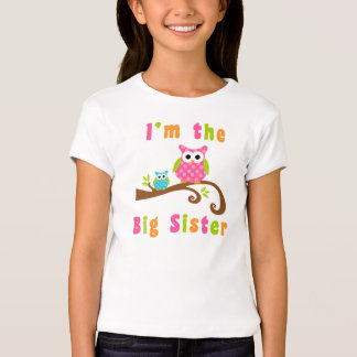 Im the Big Sister to Brother Cute Owls T-Shirt