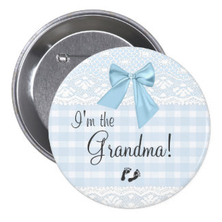 I'm The Grandma Blue Gingham and Bow White Lace 7.5 Cm Round Badge