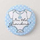 I'm The Grandma Blue Owl Blue Polka Dots 7.5 Cm Round Badge