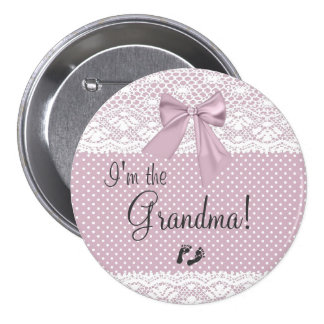 I'm The Grandma Lavender Bow With White Lace 7.5 Cm Round Badge