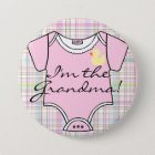 I'm The Grandma on Pink Plaid with Yellow Duck 7.5 Cm Round Badge