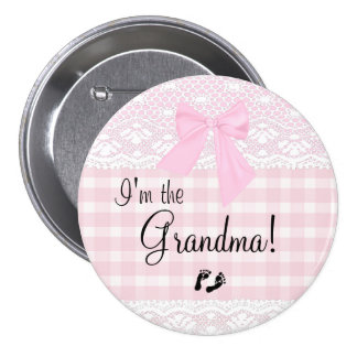 I'm The Grandma Pink Lace 7.5 Cm Round Badge