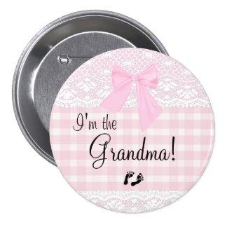 I'm The Grandma Pink Lace 7.5 Cm Round Badge