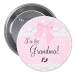 I'm The Grandma with Pink Dots and White Lace 7.5 Cm Round Badge