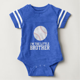 """""""I'm the Little Brother"""" Baseball Jersey Number Baby Bodysuit"""