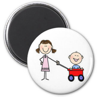 I'm the Little Brother Stick Figure 6 Cm Round Magnet