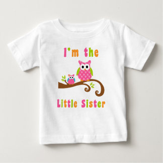 Im the Little Sister Cute Pink Owls Baby T-Shirt