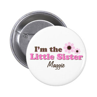 I'm The Little Sister Mod Flowers Personalized 6 Cm Round Badge