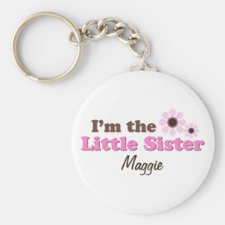 I'm The Little Sister Mod Flowers Personalized Keychain