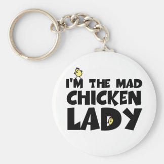 I'm the mad chicken lady basic round button key ring