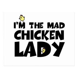 I'm the mad chicken lady postcard