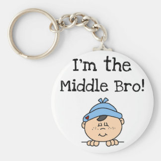 I'm the Middle Bro Tshirts and Gifts Basic Round Button Key Ring