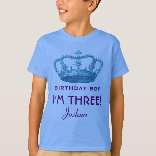 I'm Three 3rd Birthday Crown Custom Name T-Shirt