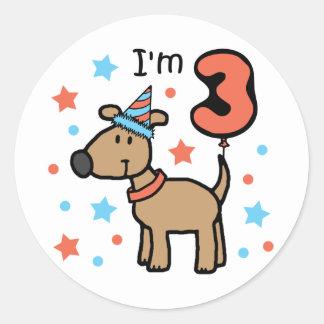 I'm Three Doggie Round Sticker