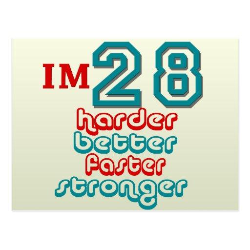 I'm Twenty Eight. Harder Better Faster Stronger! B Postcards