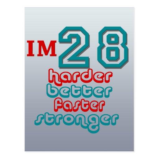 I'm Twenty Eight. Harder Better Faster Stronger! B Postcard