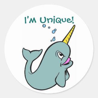 I'm Unique! (Narwhal) Classic Round Sticker