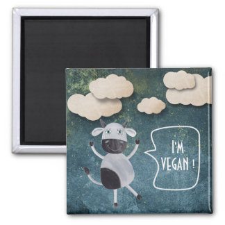 I'M VEGAN SWEET RUSTIC COW BLUE JEANS GOLDEN SQUARE MAGNET