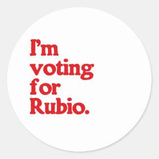 I'M VOTING FOR RUBIO ROUND STICKER