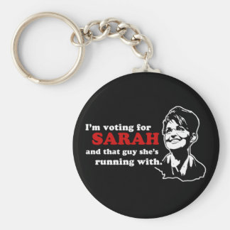 I'm voting for Sarah and that guy Basic Round Button Key Ring