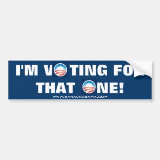 """I'M VOTING FOR THAT ONE"" OBAMA BUMPER STICKER. BUMPER STICKER"