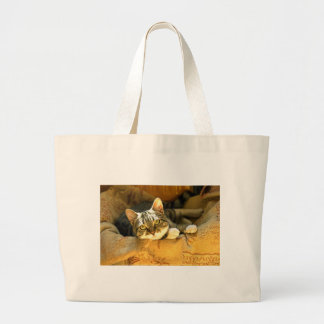 """""""I'm Watching You"""" - a Very Cute Kitten Large Tote Bag"""