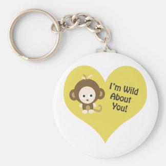 I'm Wild about You Monkey Basic Round Button Key Ring