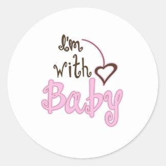 I'm with Baby Round Sticker
