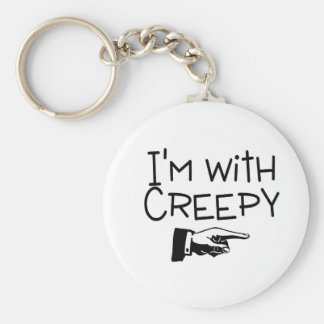 Im With Creepy Basic Round Button Key Ring