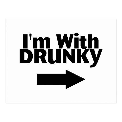Im With Drunky Postcard