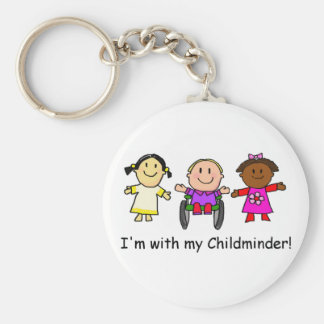 I'm with my childminder basic round button key ring