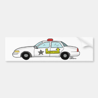 Im With Stupid logo on police officer s patrol car Bumper Sticker