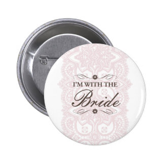 I'm with the Bride Button-Vintage Bloom 6 Cm Round Badge