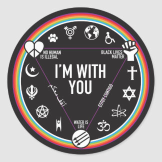 I'm With You activist gear. Proceeds to the ACLU! Round Sticker