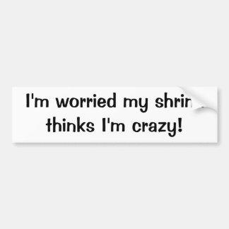 I'm worried my shrink thinks I'm crazy Bumper Sticker