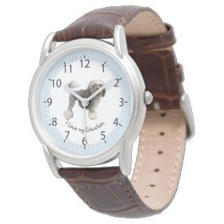 Im'a Lowchen Lover, white diamonds on blue Wrist Watch