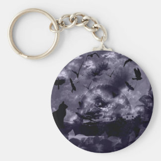 Imabari castle and flower and bird basic round button key ring