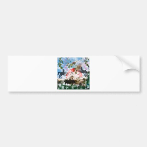 Imabari castle and flower and butterfly bumper sticker