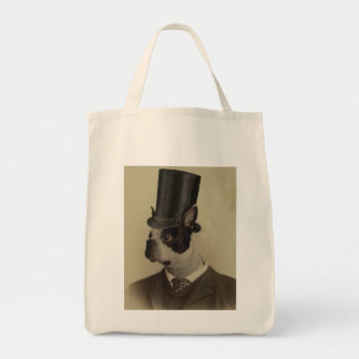 Image of a Dapper Boston terrier Tote Bags