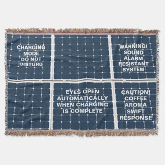 Image of a solar power panel funny throw blanket