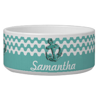 Image of Aqua Green Glitter Anchor on Wavy ZigZag