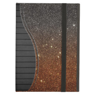 Image of black and orange trendy glitter cover for iPad air