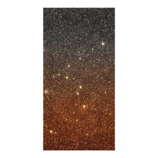 Image of black and orange trendy glitter photo greeting card