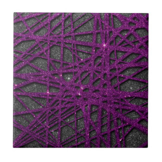 Image of black and purple stripe glitter small square tile