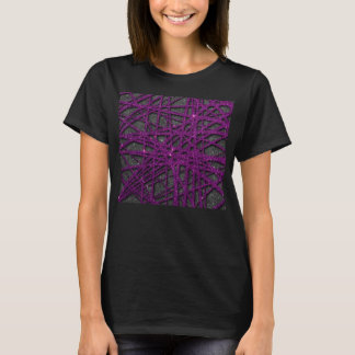 Image of black and purple stripe glitter T-Shirt
